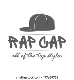 23acb1b34a3 Rap cap logo template. Label with text in hand drawn graffiti style  isolated on white