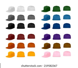 Rap cap template set, vector eps10 illustration. Flat bill baseball caps.