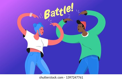 Rap or dance battle concept vector illustration of two young teenagers standing together and gesturing hands up. Emotional gradient design of modern teens lifestyle