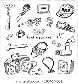 RAP hand drawn doodle set. Sketches. Vector illustration for design and packages product. Symbol collection.