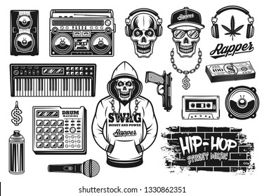 Rap and hip hop music attributes set of vector objects or design elements in vintage monochrome style isolated on white background