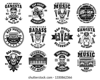 Rap and hip-hop set of twelve vector emblems, labels, badges or logos in monochrome style isolated on white background