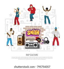 Rap music culture symbols flat background poster with singers performers retro accessories brick wall graffiti vector illustration