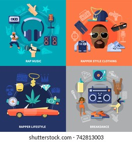 Rap music flat concept with clothing of rapper and lifestyle, breakdance isolated on color background vector illustration