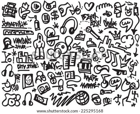Rap Music Hip Hop Symbols Doodles Stock Vector Royalty Free