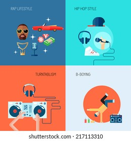 Rap music lifestyle turntablism b-boying icons flat set isolated vector illustration
