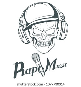 Rap music logo. Rapper skull on white background. Lettering with a  microphone. Vector 39a83aa17a3