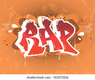 Rap Music Party Illustration In Graffiti Style Lettering Logo VectorTypography For Poster