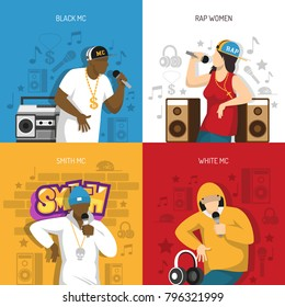 Rap music popular singers performance 4 flat colorful background icons square with black mc rapper vector illustration