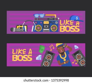 Rap music vector dj character singing in microphone playing on turntable sound record illustration backdrop of rap cap discjockey headphones player disc playback in nightclub set background.