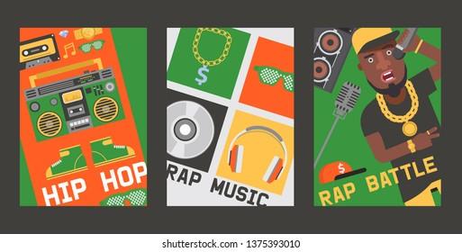 Rap music vector dj playing disco on turntable sound record illustration backdrop of rap cap discjockey headphones player disc playback in nightclub set background.