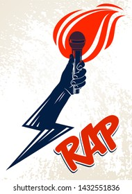 Rap music vector logo or emblem with microphone in hand flames and lightning bolt, hot Hip Hop rhymes festival concert or night club party label, t-shirt print.