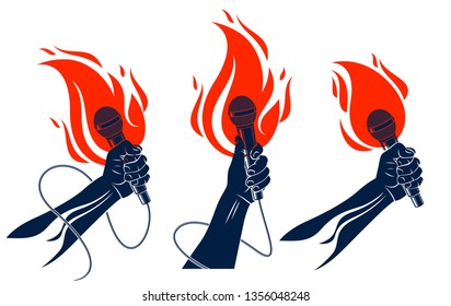 Rap music vector logos or emblems set with microphone in hand flames, hot Hip Hop rhymes festival concert or night club party labels, t-shirt prints.