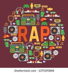 Rap music vector pattern dj playing disco on turntable sound record illustration backdrop of rap cap discjockey headphones player disc playback in nightclub background.