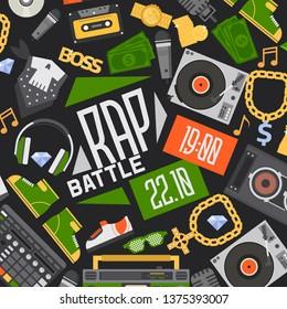 Rap music vector seamless pattern dj playing disco on turntable sound record illustration backdrop of rap cap discjockey headphones money player playback in nightclub background.