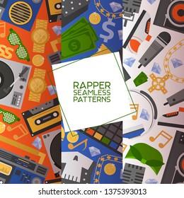 Rap music vector seamless pattern dj playing disco on turntable sound record illustration backdrop set of rap cap discjockey headphones player playback in nightclub background.
