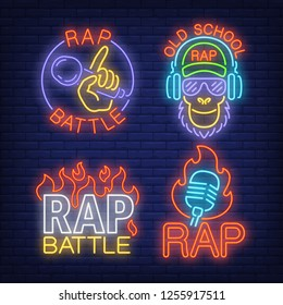 Rap neon signs set with flames and microphones. Rap battle advertisement design. Night bright neon sign, colorful billboard, light banner. Vector illustration in neon style.