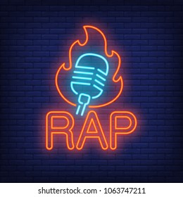 Rap neon word and microphone in flame outline. Neon sign, night bright advertisement, colorful signboard, light banner. Vector illustration in neon style.