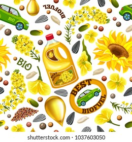 Rapeseeds and rape flowers, canola oil. Brassica napus. Biofuel from rape save planet. Seamless vector background.