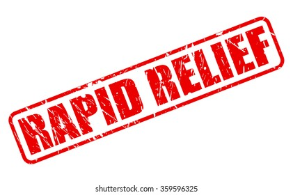 RAPID RELIEF red stamp text on white