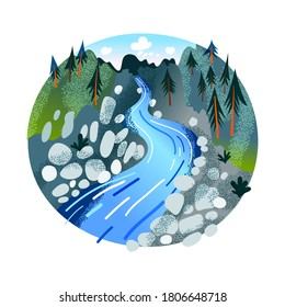 Rapid seething stream of mountain river. Spruce alpine forest. Wildlife landscape in round stamp isolated on white. Vector illustration of protected nature reserve, tourist spot or recreation area