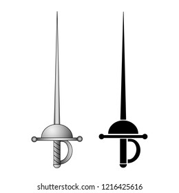 Rapier. Medieval Weapon. Vector Illustration Isolated On White Background For Your Design, Game, Card, Websites.