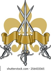 rapier renaissance swords with banner and french lily