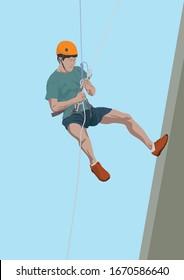 Rappelling Adventure Sport on illustration graphic vector