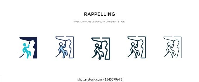 rappelling icon in different style vector illustration. two colored and black rappelling vector icons designed in filled, outline, line and stroke style can be used for web, mobile, ui