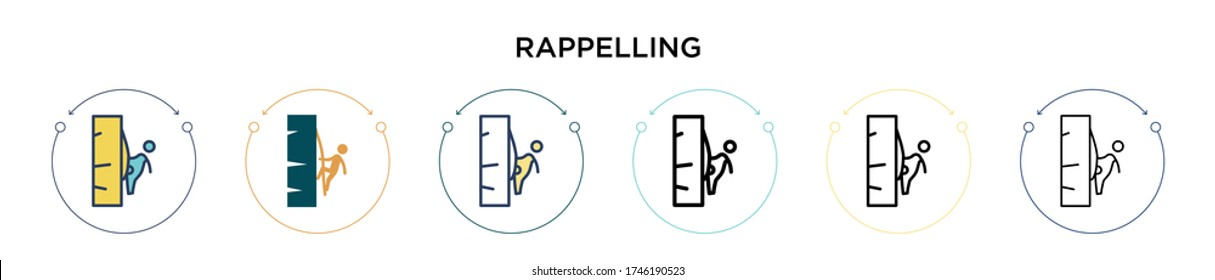 Rappelling icon in filled, thin line, outline and stroke style. Vector illustration of two colored and black rappelling vector icons designs can be used for mobile, ui, web