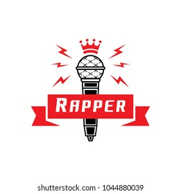 rapper badge with crown on microphone vector illustration