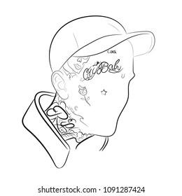Rapper Lil Peep in vector.