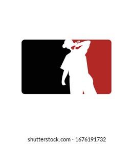 Rapper silhouette vector illustration. Singer man logo silhouette