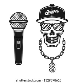 Rapper skull in snapback, sunglasses, chain with dollar sign and microphone set of vector objects or design elements in vintage monochrome style isolated on white background