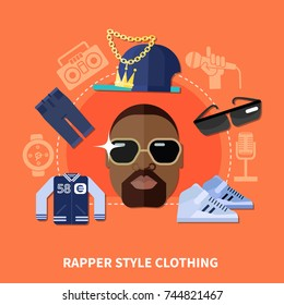 Rapper style clothing composition with garments around male african american face on orange background flat vector illustration