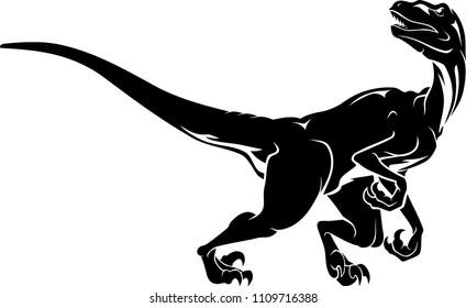 Raptor Dinosaur, Isolated Illustration Full Body Prehistoric Animal