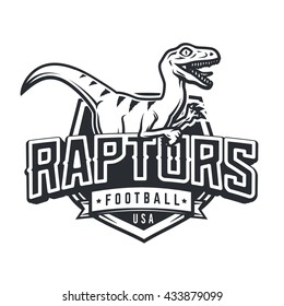 Raptor sport logo mascot design. Vintage college team coat of arms. Dino vector logotype template.  Sportswear shop t-shirt illustration concept