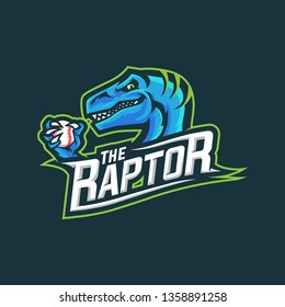 Raptors with baseball Mascot Logo for Sport and Esport isolated on dark Background