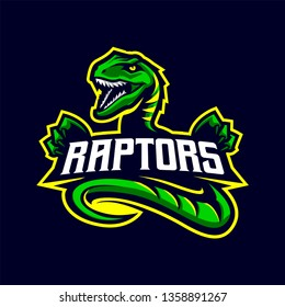 Raptors Mascot Logo for Sport and Esport isolated on dark Background