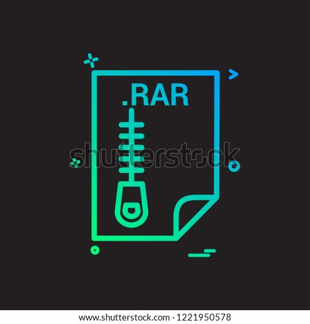 RAR Application Download File Files Format Stock Vector