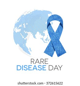 Rare disease day emblem. Blue jeans awareness ribbon and the globe in background.