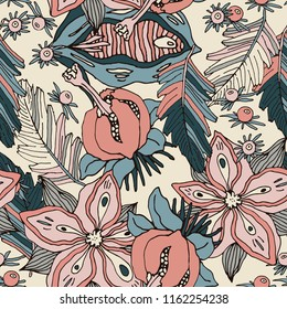 Rare floral background in pattern.