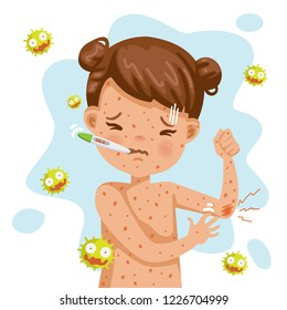 Rash fever of rubella. A sick little girl with fever and red rash. Gel reduces heat. Feeling bad when symptoms. Cartoons of rubella virus. Cause of infection.