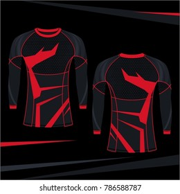 Rash Guard MMA Red Stripe Abstract Style Design