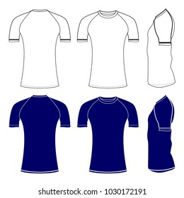 Rash guard short sleeve shirts template vector