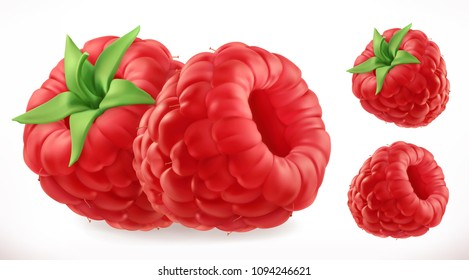 Raspberries. Fresh fruit 3d realistic vector icon