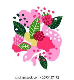 Raspberries on abstract background. Vector illustration
