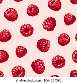 Raspberries seamless pattern. Summer fruits and berries colors vector background