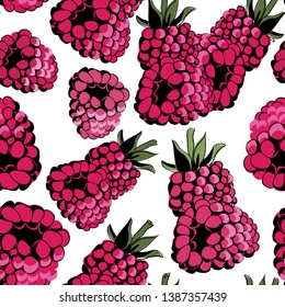 Raspberries seamless pattern. Vector illustration of the raspberries on white background
