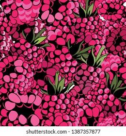 Raspberries seamless pattern. Vector illustration of the tasty raspberries